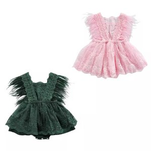 Girls Rompers Baby For Girl Clothes Summer Fashion Feather Lace Skirts Newborn Dress Infant Jumpsuit Princess Bodysuits Toddler One Piece Clothing B7444