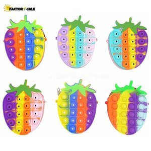 Rainbow Strawberry Sensory Bubbles Fidget Toy Cellphone Straps Silicon Push Simple Dimple Finger Toys Stress Relief Kids Shoulder Bag Change Coin Purse FS20