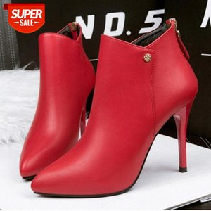 New Fashion Women 's High Heel Leather Boots Designer Fur Ankle for Winter Spring Sexy Pointed #Lu83