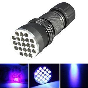 Portable Flash Lights UV Ultra Violet 21 LED Mini Blacklight Aluminum Torch Light Lamp P25 Flashlights Torches
