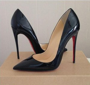 FreeShipping So Kate Styles 12cm High Heels Shoes Red Bottom Nude Color Genuine Leather Point Toe Women Pumps Rubber Wedding Shoes Red Soles DH