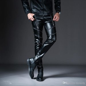 Men Cargo Pants 2019 New New Winter Spring Men's Skinny Leather Pants Fashion Faux Leather Trousers For Male Trouser Stage Club Wear Bi