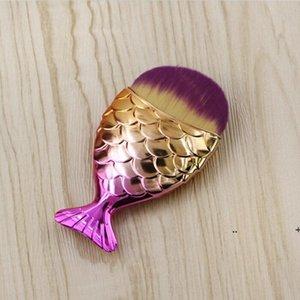 18 Farben 11 cm * 5,5 cm Meerjungfrau Oval Make-up Foundation Pinsel Gold Makeup Set Schönheitskosmetik Blush Pulver FWB6297