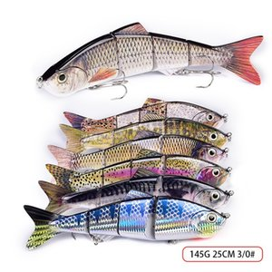 Super Big Size 4 Segments Artificial Fish VIB Fishing Lures 25.5cm 135g Deep Diving Great Realistic Laser Musky Fishing Bait Hooks 394 X2