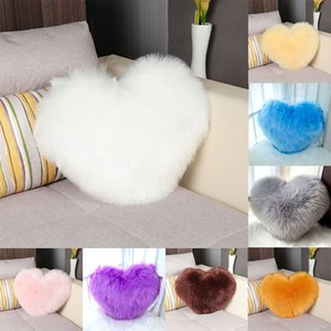 Love pillow multicolor heart-shaped plush white imitation wool modern minimalist sofa and comfortable cushion size 35*44cm