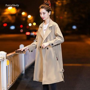 Fairyshely Kore Moda Ceket 2021 Kadınlar İlkbahar Sonbahar Rahat Gevşek Cep Ceket Kadın Ofis MIDI Rüzgarlık Artı Boyutu 3XL Kadınlar Tren