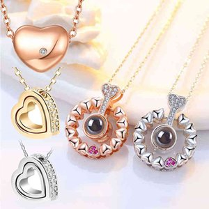 ADELANTE 100 Languag I Love You Projection Necklace Heart Pendant Jewelry Chain Jewlery Necklace
