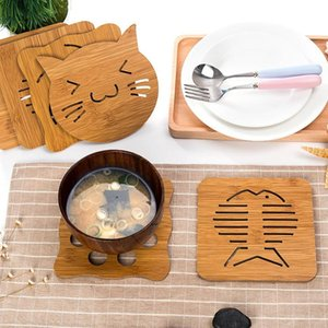 Table Runner 5pcs Thick Mats Drink Hollow Wooden Placemats Coffee Cup Coasters Heat-resistant Nonslip Boiler Bowl Pads