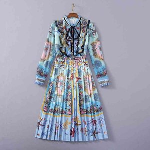 European and American women's clothing 2021 The new spring Long sleeve Starfish printed ruffled edge fashion Pleated dress