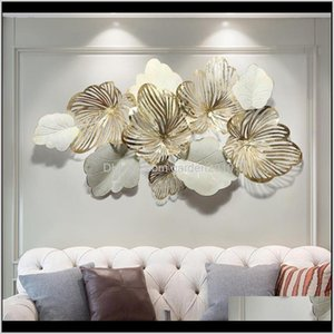Decorative Objects & Figurines Home Gold Leaf House Decor Nordic Living Room Sofa Light Metal Background Iron Wall Decoration Creative 1Jfz7