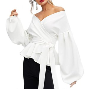 Women's Blouses & Shirts Ruffle Long Sleeve Elegant Polyester Daily Party Women Blouse Holiday Solid Casual Soft V Neck Tie Waist Off Should