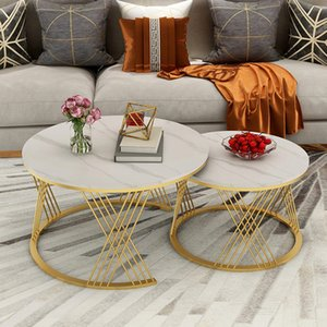 Italian light luxury rock table living room small family round hotel marble combination