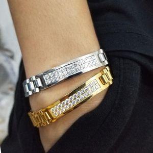 Fashion + CZ Stone Gold Bijoux Stainless Steel Watch Band Link Chain Bracelets For Men Women Hip Hop Rock Jewelry Link,