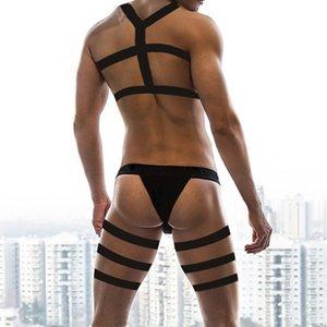 Men Sexy Costumes Harness Straps Underwear Bondage Lingerie Long Leg Belt Briefs Boy Elastic Erotic Fetish Costume Hombre Night Clubwear Set