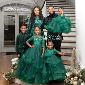 Pretty Green Tiered Tulle Kids Dresses For Girls Long Puffy Ruffles Flower Dress Kid Gowns Wedding Casual