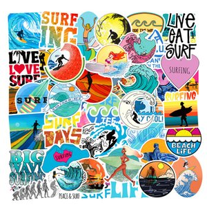 50pcs Lot Summer Surfing Beach Stickers Laptop Skateboard Guitar Luggage Case Car Motorcycle Bike Graffiti Stickers Waterproof PVC Removable