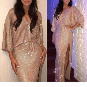 2019 Rose Gold V Neck 3 4 Long Sleeves Sequin Mermaid Evening Dresses Ruched Split Floor Length Evening Prom Gowns Plus Size BC0735