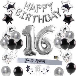 QIFU Feliz Cumpleaños Fiesta Decoraciones Adult Sweet 16 Party Decorations 16th Fiesta de cumpleaños Suministros 16 Cumpleaños Decoración de globo 210408