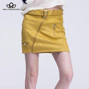 Skirts Herstory 2021 Autumn Winter Suede Mini Skirt Streetwear Motorcycle Pencil Zipper Belt Short Female