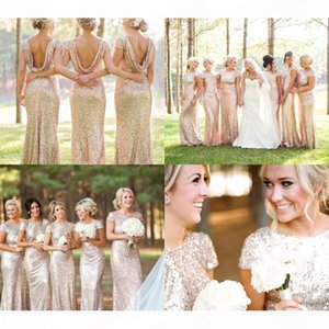 Wholesale Price Garden Golden Sequin Long Bridesmaid Dresses with Short Sleeves Jewel Neck Cheap Bridesmaid Gowns Wedding Guest Dresses