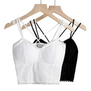 Camisoles & Tanks Women Lace Bralette Floral Top Sexy Cami Tops Female Beauty Back Underwear Lingerie Padded Short Cropped Camisole