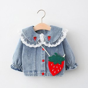 Spring 2021 Girl's Denim Coat And Strawberry Bag Jackets