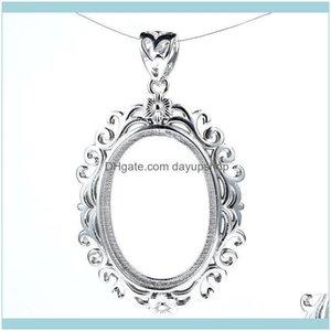 Necklaces & Pendants Jewelryfiligree Flower Semi Mount 925 Sterling Sier Pendant For 18X26Mm Oval Cabochon Gemstone Fine Jewelry Setting Loc