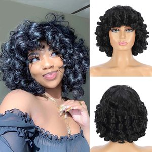 Short Hair Afro Curly Wigs For Black Women Loose Synthetic Cosplay Fluffy Shoulder Length Natural Wig With Bangs Dark Brown 14factory direct