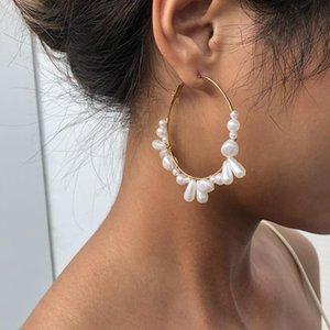 أقراط هوب للنساء الزفاف اليدوية غير النظامية اللؤلؤ الخرز brincos مجوهرات الأزياء الأذن huggie