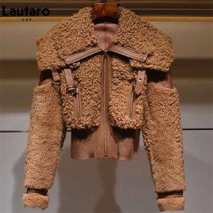 Lautaro Winter Warm Thick Patchwork Faux Fur Coat Women Long Sleeve zipper Turndown Collar Stylish Fluffy Jacket Fashion 210928