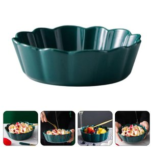 Bowls 1pc Ceramic Salad Bowl Fruit Container Serving Party Supply (Green)