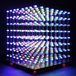 테이블 램프 ICUBESMART 8x8x8 3D LED 큐브 DIY 전자 키트 청소년 수정 소프트웨어와 솔더링 프로젝트 학습 [3D8C]