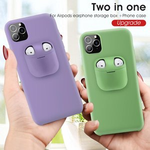 2in1 AirPods Earphone Case and Liquid Silicone+Plastic Back Cover for iPhone 12 11 Pro XR XS MAX 7 8 Plus