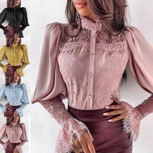 Mode Weibliche Blusas lange Ärmel Dame Eleganter lässig Spitzenständer Hals Hemden Langarm Tops Bluse Frauen Damenhemden mit