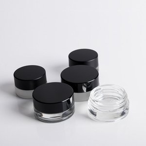 3G Empty Glass Jars with Black Lids &Liner 5ML Clear Round Thick Glass Small Containers for Oil, Lip Balm, Wax, Cosmetics