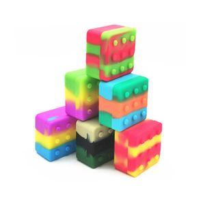 4+1 Silicone Container Case Carriers Square Box Non-stick 26ml Block Box For Dab Wax Oil Dry Herb Silicon Storage Jar CCF6118