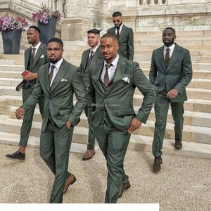 2021 Green Formal Wedding Men Suits for Groomsmen Wear Groom Tuxedos Evening Party Suit Three Piece Set (Jacket +Vest+Pants)