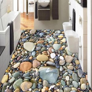 Custom Po 3D Waterproof Floor Sticker Self Adhesive Wallpaper Stone Pebbles Living Room Bathroom Tiles Decoration Wallpapers