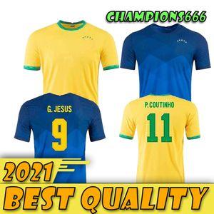 Brésils Firmino Soccer Jersey Camiseta de Futebol Copa America 2021 G.Jesus Coutinho 20 21 Brésil Hommes Chemise de football pour enfants