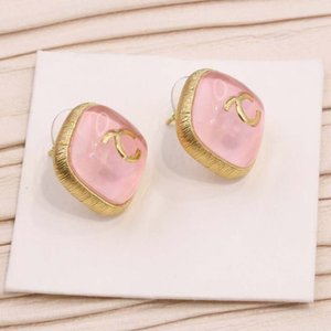 2021 Square shape stud earring with pink jade for women wedding jewelry gift have stamp box PS3255