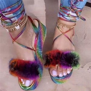 2021 European and American thick-soled rhinestone sandals foot ring straps colorful turkey feather color female plus size36-43
