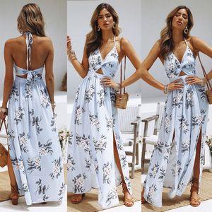 Casual Bohemia Beach Mouwlless Dress Women Split Summer Flowers Off Shoulder Maxi Long Boho Dress Women's Clothing