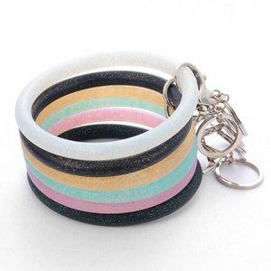 Bling Key Ring Bracelet for Women Girls Silicone Wristlet Strap Keychain Large Circle Wrist Keyring Bangle Bracelets Kimter-Q6FZ