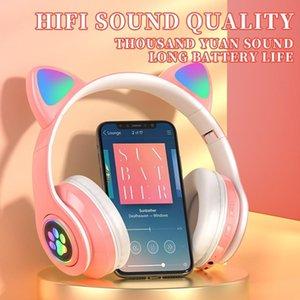 Bluetooth fones de ouvido incandescer Bonito Catear pata levou meninas presente crianças gamer auriculares fone de ouvido sem fio hifi estéreo b39