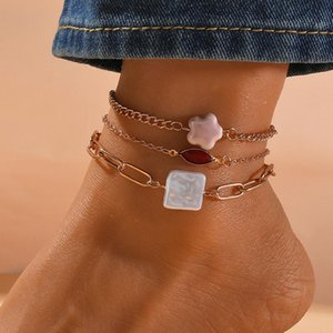 Anklets Multilayer Woman Simple Anklet Women Star Pendant Elegant Fashion Red Crystal Ladies Retro Jewelry Trendy Metal