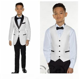 White With Black Shawl Lapel Boy Wear For Wedding Tuxedos Kids Suits Custom Events Suit (Jacket+Pants+Vest+Bows)