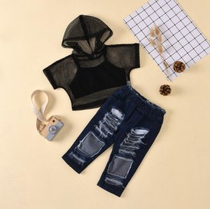 Kids Clothes Sets Children Girls Hollow hooded short-sleeved suspender denim trousers Baby Infant Clothing