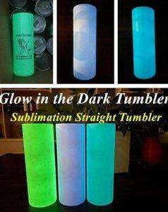 Süblimasyon Düz Tumbler Boş Glow Karanlık Tumbler 20 OZ Işık Boya ile Lüminesans Paslanmaz Çelik Tumblers Sihirli Seyahat Kupası DHL Nakliye FY4467