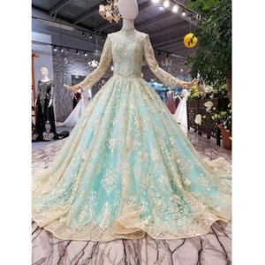 31127HT светло-голубые блестящие матери невесты платье с высокой шеей длиной тюль из рукава шарикового платья мусульманский вечер с разверткой