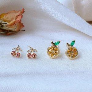 Shiny Side Accessories Crystal Fruit Lemon Stud Earrings For Women Cute Small Zirconia Cherry